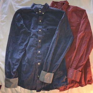 2 IZOD Slim Fit Button Down Shirts. Chest Pockets!